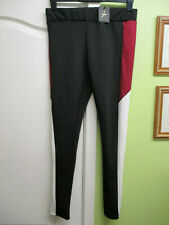 BNWT SIZE 14 LADIES FITNESS ACTIVE WEAR PANTS LEGGINGS  - BLACK RED MESH & WHITE