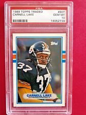 1989 Topps Traded Carnell Lake Pittsburgh Steelers Card#80T PSA GEM MINT 10
