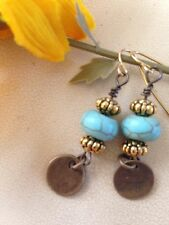 Beautiful Turquoise And Gold Plate Dangle Earrings