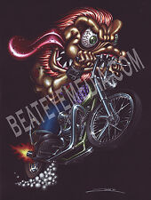ZOMBIE-ART PRINT-HOT ROD,RAT FINK,MOTORCYCLE,COMIX,ROTH