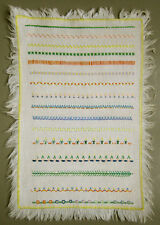 C. 1950 - 1960 LOVELY COLORFUL VINTAGE NEEDLEWORK SAMPLER STITCHED BORDERS