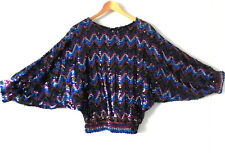 Vtg Sequin Top Bat-Wing Over-Sized Multi-Color Elastic Waist/Cuffs Size M