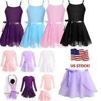 US Girl Gymnastics Leotard Ballet Dance Dress Tutu Skirt Skate Ballerina Costume