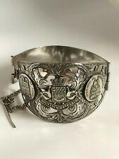 Vintage Algerian Silver Souvenir de Paris Cuff Bracelet