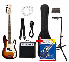 Electric Bass Guitar Set 15W Amplifier Tuner Stand Gigbag Cable Strap Strings