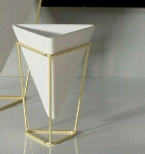 Umbra Trigg Planter/Storage Tabletop Vessel White Ceramic and Brass