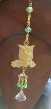 Owl Selenite Orgonite Crystal Suncatcher Window Charm Green/Gold Reiki Healing
