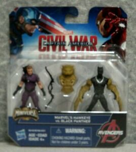 MARVEL'S HAWKEYE VS BLACK PANTHER ACTION FIGURES - 2 PACK - MINIVERSE - 2-1/2""
