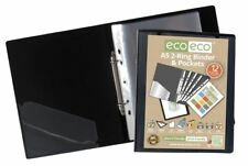 12 x eco-eco A5 65% Recycled Strong Presentation Ring Binder + 12 Clear Pockets