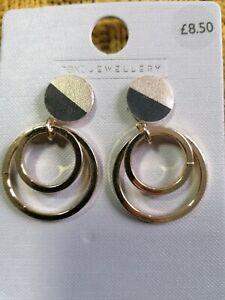 Next Women  Ear rings Gold/black Tone Circle Drop Earrings