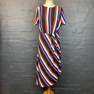 Retro 1980s Style Striped Midi Dress Size 10 Asymmetric Hem Blue Red White Blue