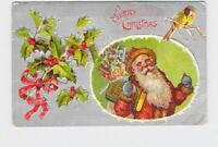 PPC POSTCARD CHRISTMAS SANTA SACK OF TOYS ADDRESS BOOK FINCH HOLLY EMBOSSED