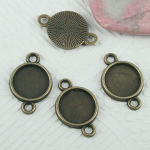 72pcs antiqued bronze color round cabochon settings(10mm) connector EF0670