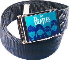 Beatles Blue Belt Buckle Bottle Opener Adjustable Web Belt