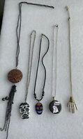 Set Of 5 Halloween Necklaces Skull Skeleton Hand Ghost And Rhinestone.