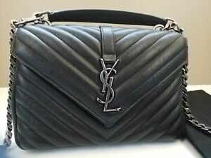 Yves Saint Laurent YSL College Medium Monogram Black Matelass¨¦ Leather Bag