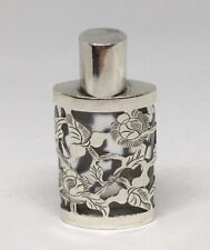 Taxco Sterling Silver Glass Perfume Scent Bottle w/ Overlay Floral Etched Mexico