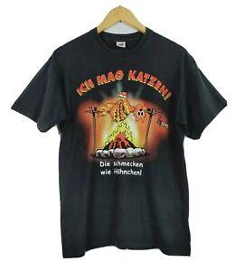 Vintage Fruit Of The Loom Ich Mag Katzen Men's T Shirt Size M Black SS