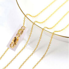 1PCS 16-18-20-22-24-26-28-30inch 18K Yellow Gold Filled Rolo Chain Necklaces TOP