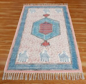 6x9 5x8 ft Indian Hand Block Printed Cotton Dhurrie Boho Outdoor Decor Area Rug