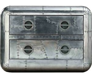 Vintage Aluminium Aviator Design Coffee Table Riveted Modern Style Two Drawer