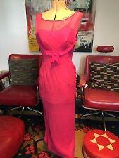 1950s Hot Rosa Chiffon Maxi Estate Abito Da Sera UK 10