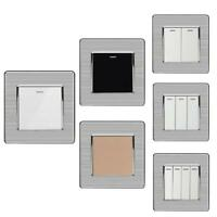 Wall Switches 1 2 3 4 Gang LED Light On Off Push Button Stainless Steel Panel