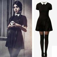 Women Gothic Black Short Sleeve Mini Dress Cosplay Fancy Dress Halloween Costume