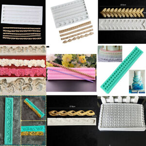 Relief Flower Bead Chain Rope Silicone Fondant Mould Cake Border Decorating Mold