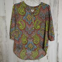 Umgee Women's Small Top Half-Button Bright Floral Paisley Print 3/4 Sleeves