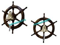 "Collectible Wooden Ship Wheel 24"" Brass Nautical Wall Hanging Decor & Ship Bell"