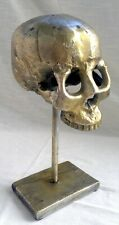Vintage Replica Human Skull on Stand - Brass Sculpture/Hat Stand