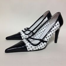 "Kaliko Black & White Perforated Leather Mary Jane 3.5"" Stiletto Shoes UK 5 EU 38"