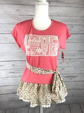 BELLE DU JOUR Girls Youth Size XL Short Sleeve Coral  Design Blouse Shirt