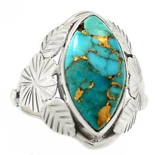 Copper Blue Turquoise 925 Sterling Silver Ring Jewelry s.8 RR58060