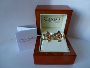 Clogau Gold Welsh Large 9ct Yellow & Rose Gold Daffodil Stud Earrings