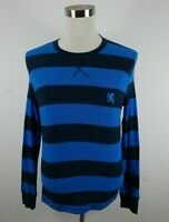 Express Mens LS Crew Neck Two Tone Blue Striped Waffle Thermal Sweater Medium