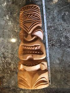 Maori Hand Carved Wooden Figure Tiki Teko 9inch