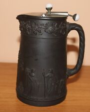 Antiker Krug Wedgwood Black Basalt mit seltenem Deckel Martins Patent Hanley