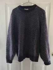 Ems vintage wool knit crew neck sweater men's/women 's, bird's eye design purple