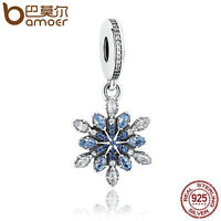 Bamoer Authentic S925 Sterling Silver Charm Snowflake Blue Crystal For Bracelet