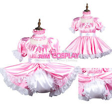 pink sissy baby maid satin dress Romper/diaper lockable Tailor-made[G3736]