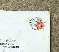 1894 Used Cover J Allen with London & Tadcaster Franks #CO1