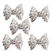 5Pcs 3D Silver Alloy Rhinestones Bow Tie Glitters Nail Art Slices F3F7