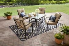 5 Piece Tan Outdoor Patio Furniture Dining Set Stacking Chairs Metal Table Deck