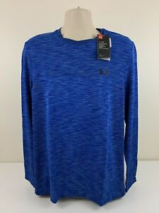 Under Armour Threadborne Heather Blue Shirt Mens Size Large Fitted MSRP $50 NEW