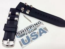 24mm Genuine iCE MASTAR BLK Rubber Dog Bullet Watch Band INVICTA Russian Diver