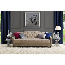 Novogratz Sofa Vintage Tufted Sleeper II Home Living Room Furniture Taupe Velour