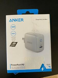 Anker PowerPort PD 1 USB-C PD 18W White Wall Charger Charging Power Port