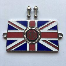 MG Union Jack GB Metal Enamel Classic Car Badge Black & Red - Bolt On